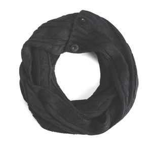 TORRID Scarf Infinity Black Buttoned Cable Knit